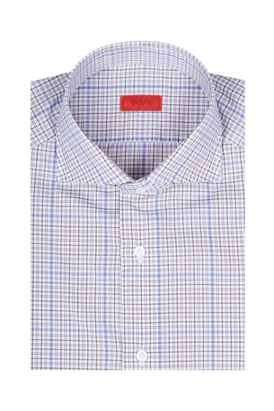 Isaia - Blue & Tan Check Dress Shirt