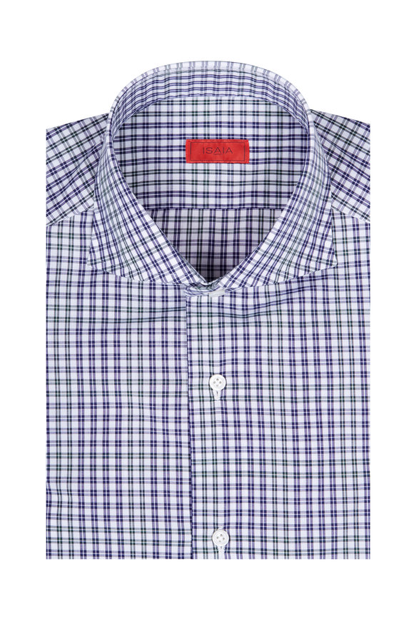 Isaia Navy & Green Check Dress Shirt