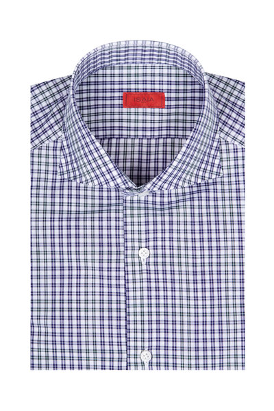 Isaia - Navy & Green Check Dress Shirt