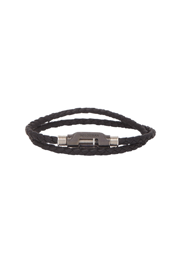Tateossian Black Double Bolt Wrap Bracelet