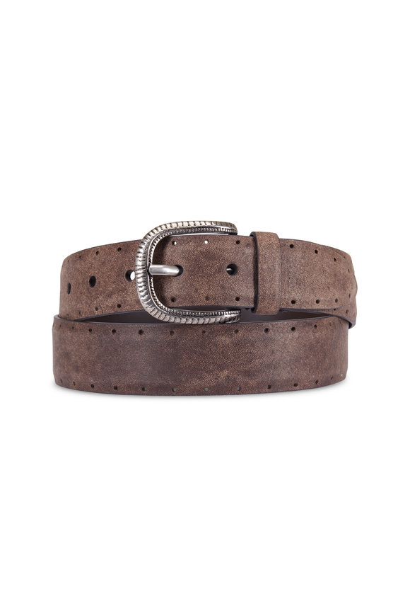 Brunello Cucinelli Light Brown Leather Perforated Belt