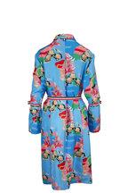 Thom Browne - Blue Lounging Floral Silk Slip Dress