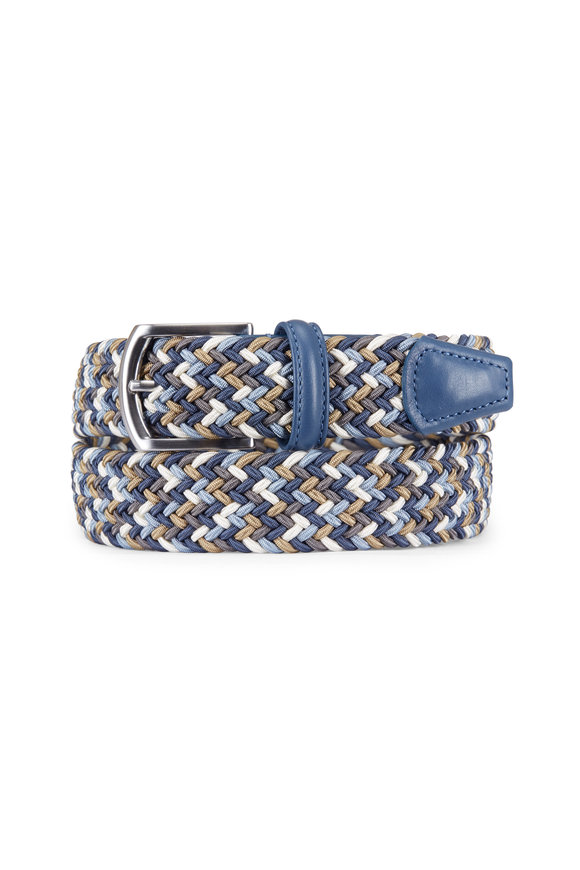 Anderson's Blue & Multicolor Nylon & Leather Belt