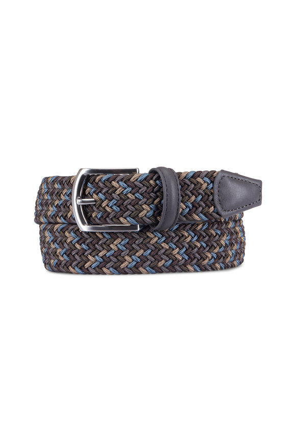 Anderson's Blue & Brown Woven Nylon & Leather Belt