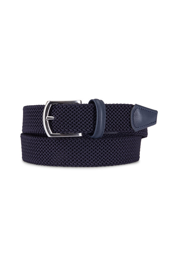 Anderson's Solid Navy Woven Nylon & Leather Belt