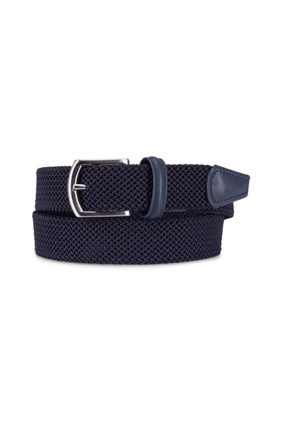 Anderson's - Solid Navy Woven Nylon & Leather Belt