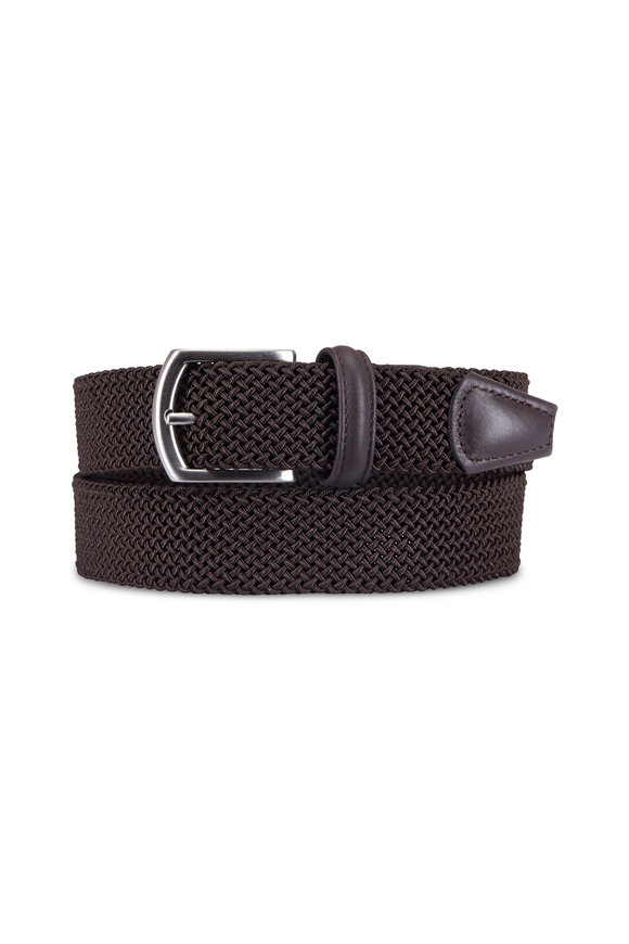 Anderson's Solid Brown Woven Nylon & Leather Belt