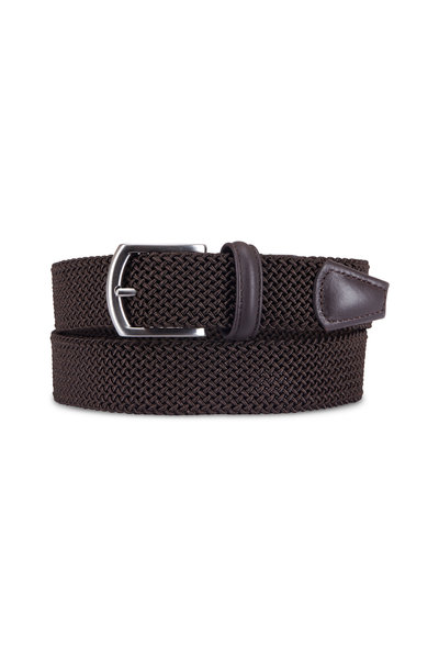 Anderson's - Solid Brown Woven Nylon & Leather Belt