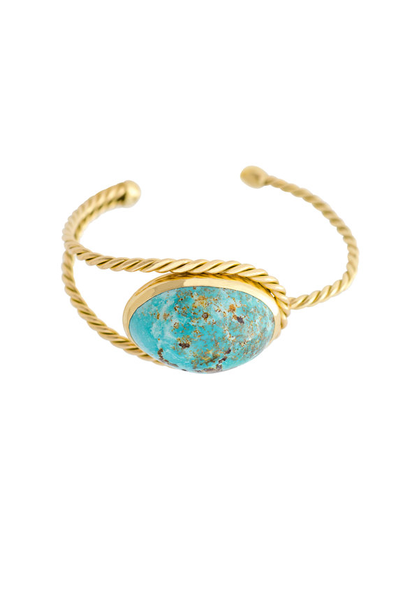 Haute Victoire 18K Yellow Gold Persian Turquoise Cuff
