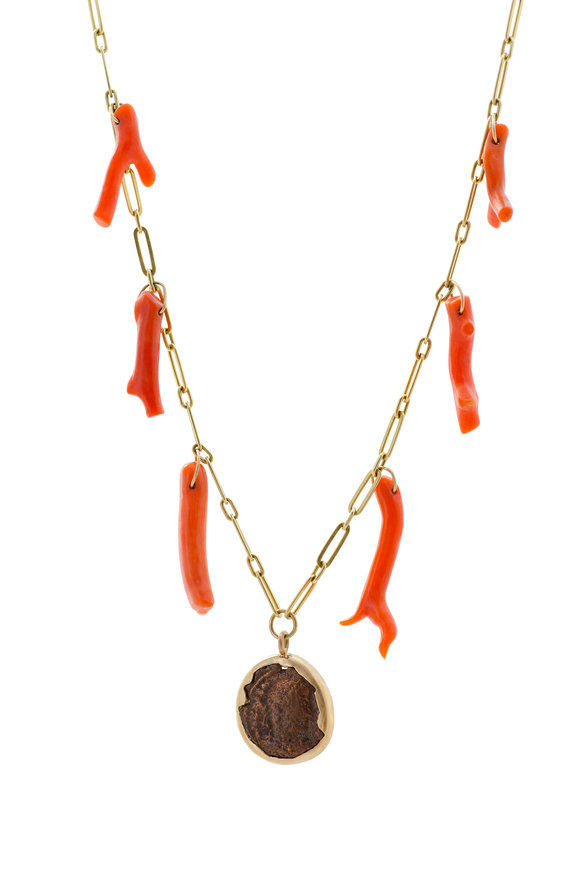 Haute Victoire Yellow Gold Coral & Ancient Coin Charm Necklace