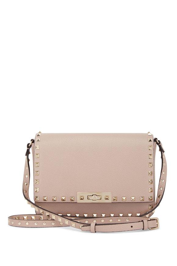 Valentino Garavani Rockstud Poudre Leather Small Crossbody Bag