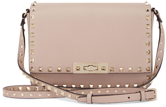 Valentino Garavani Rockstud Poudre Leather Small Crossbody Bag