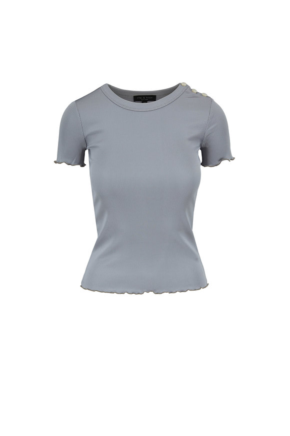 Rag & Bone Sonny Dusty Blue Button Shoulder Ribbed T-Shirt