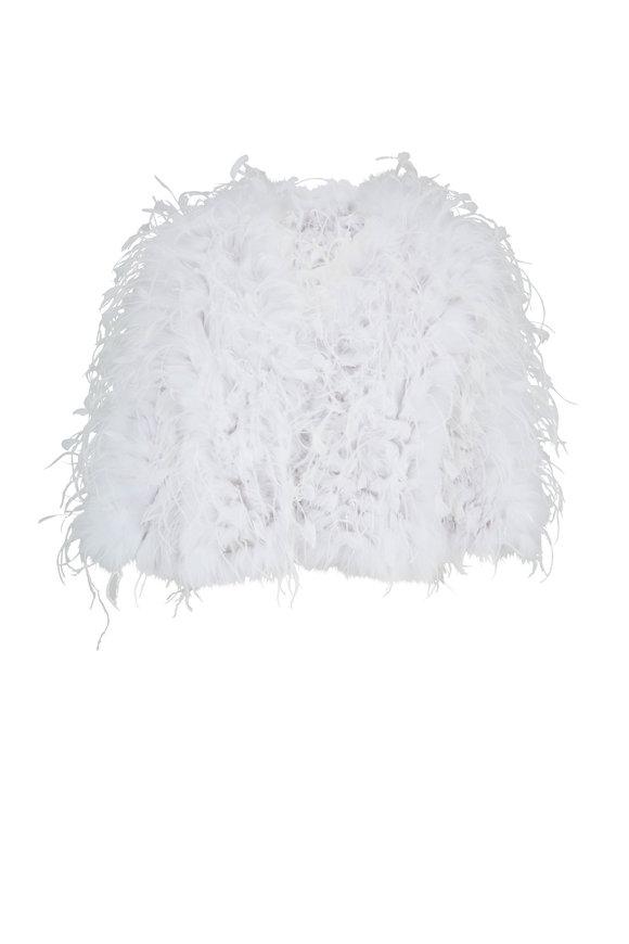 Oscar de la Renta Furs White Shadow Fox Fur & Ostrich Feather Jacket