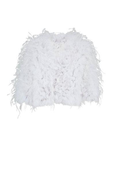 Oscar de la Renta Furs - White Shadow Fox Fur & Ostrich Feather Jacket