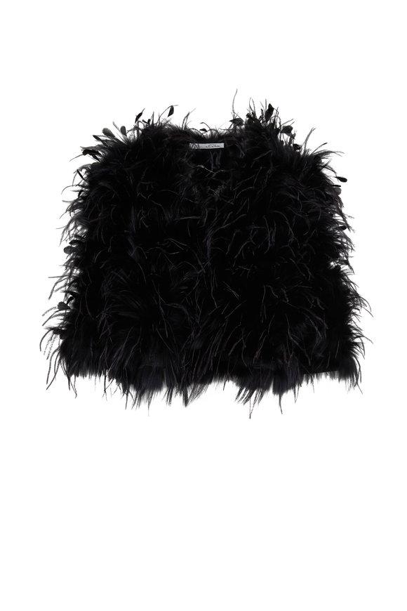 Oscar de la Renta Furs Black Shadow Fox Fur & Ostrich Feather Jacket