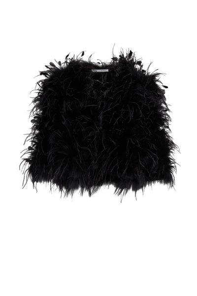 Oscar de la Renta Furs - Black Shadow Fox Fur & Ostrich Feather Jacket