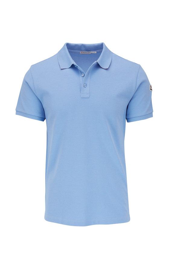 Moncler Blue Piqué Logo Collar Polo