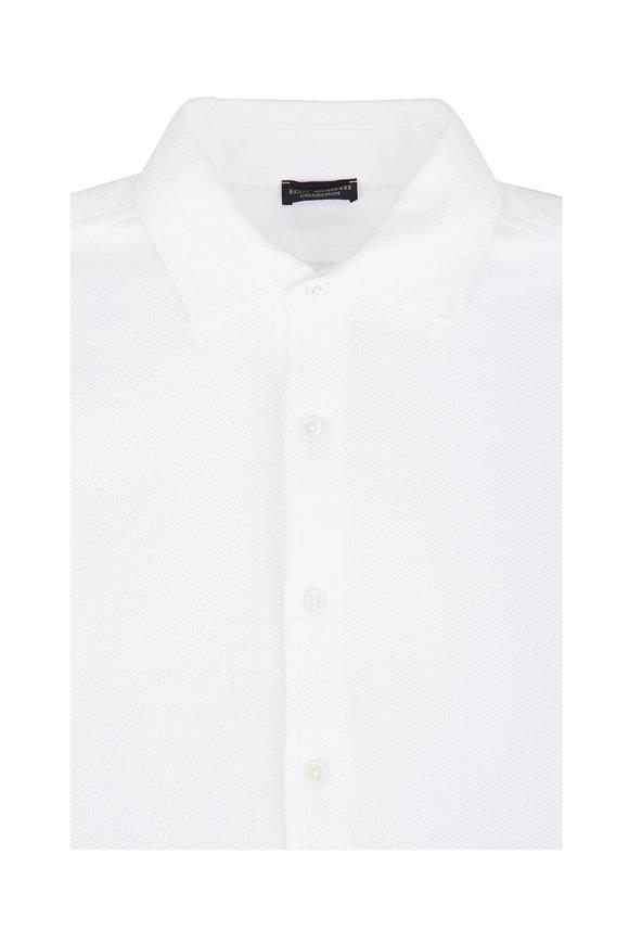 Eddy Monetti White Piqué Sport Shirt