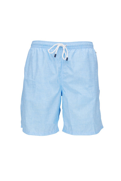 Fedeli - Washed Light Blue Swim Trunks