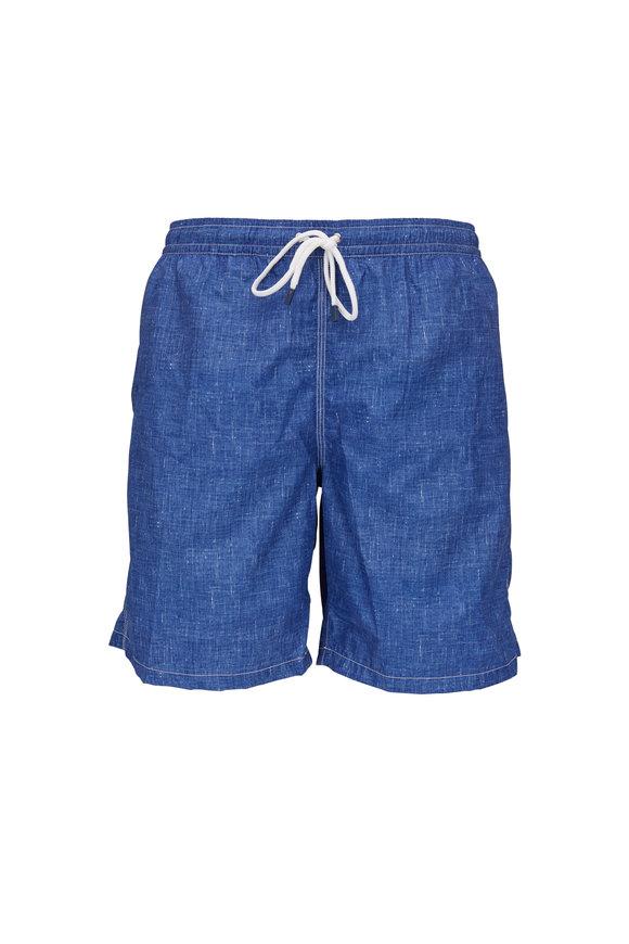 Fedeli Washed Navy Blue Swim Trunks