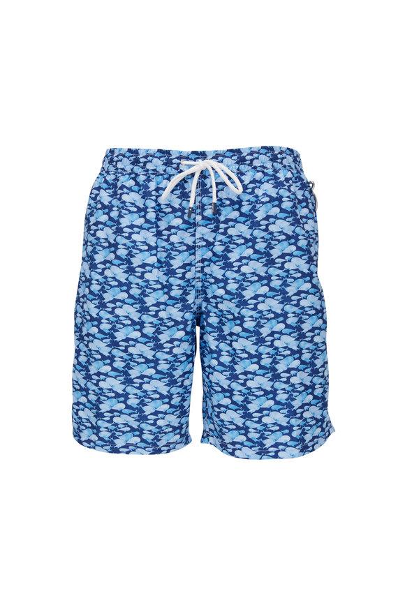 Fedeli Medium Blue Whale Print Swim Trunks