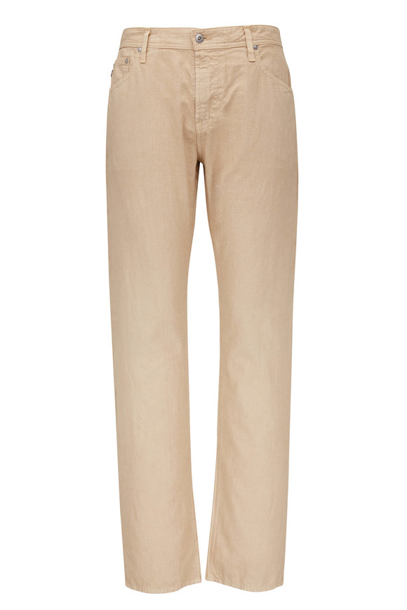 AG - Adriano Goldschmied The Graduate Sand Linen & Cotton Pant