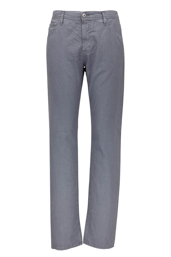 AG - Adriano Goldschmied The Graduate Gray Linen & Cotton Five Pocket Pant