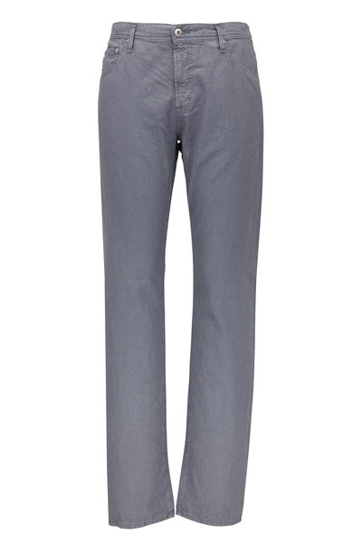 AG - Adriano Goldschmied - The Graduate Gray Linen & Cotton Five Pocket Pant