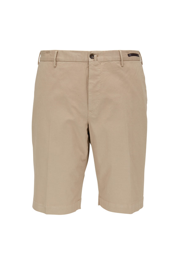 PT Torino Khaki Stretch Cotton Shorts