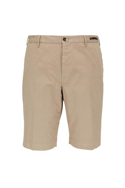 PT Torino - Khaki Stretch Cotton Shorts