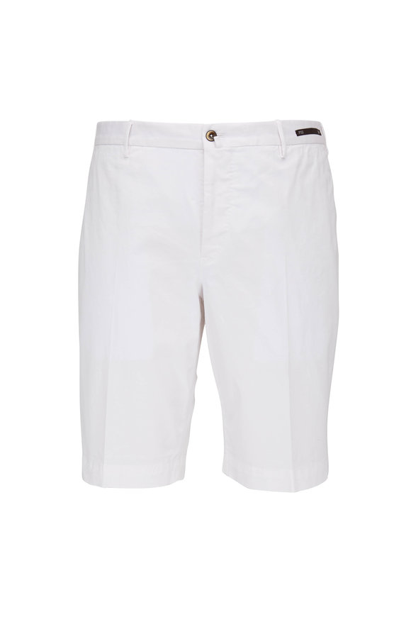 PT Torino White Stretch Cotton Shorts
