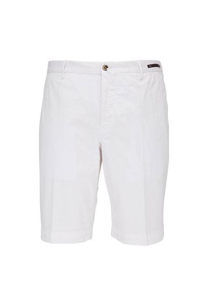PT Torino - White Stretch Cotton Shorts