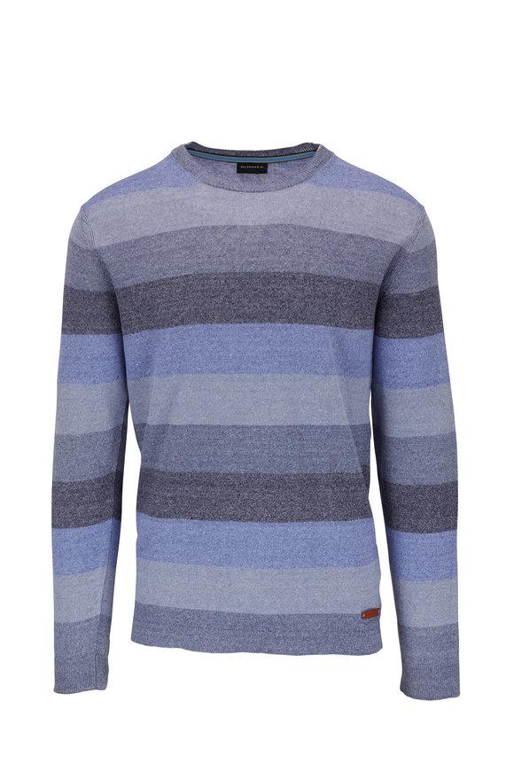 Baldessarini Blue Striped Linen Crewneck Sweater
