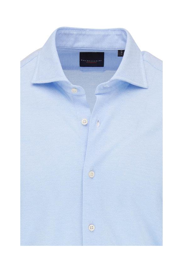 Baldessarini Light Blue Textured Dot Knit Sport Shirt