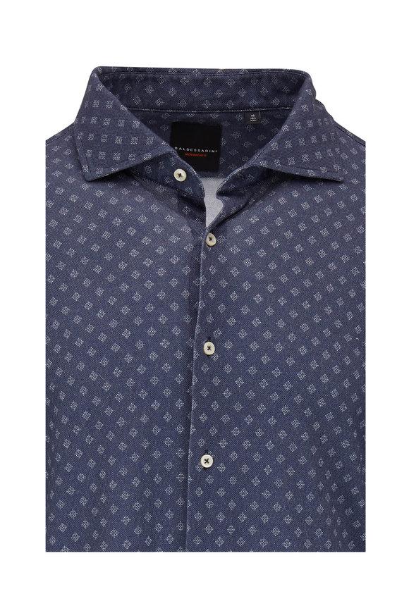 Baldessarini Henry Slate Blue Geometric Textured Knit Shirt