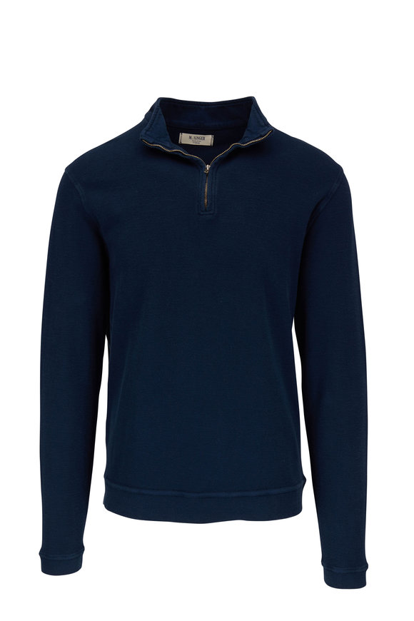 M.Singer Navy Blue Cotton Quarter-Zip Pullover