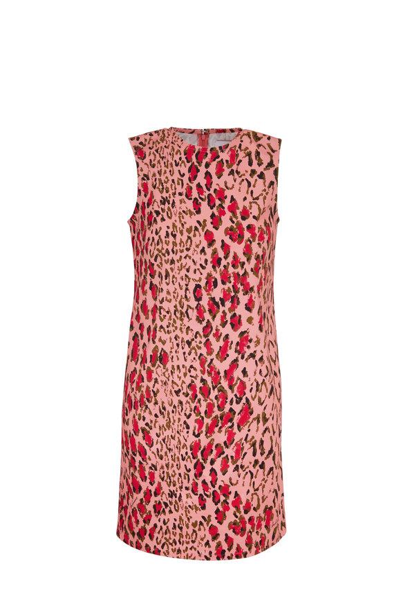 Carolina Herrera Pink Leopard Stretch Cotton Sleeveless Dress