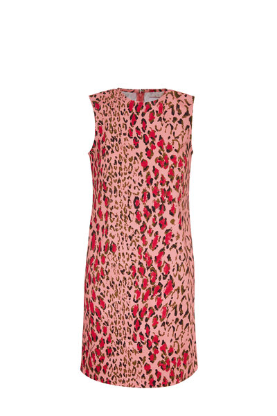 Carolina Herrera - Pink Leopard Stretch Cotton Sleeveless Dress