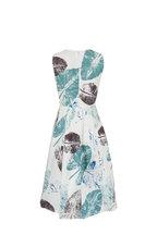 Carolina Herrera - Ivory Multi Feather Print A-Line Dress