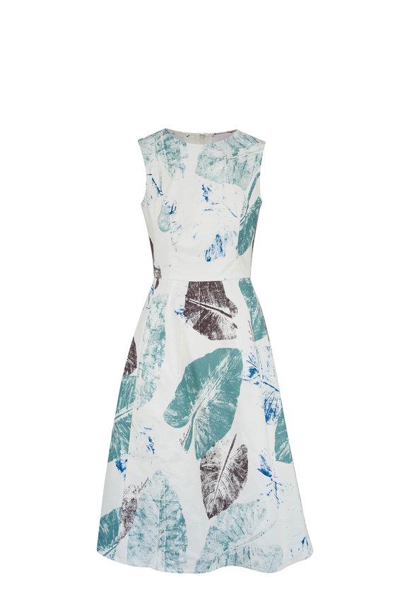 Carolina Herrera Ivory Multi Feather Print A-Line Dress