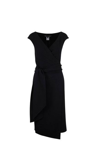 Oscar de la Renta - Black Stretch Wool Crêpe Sleeveless Wrap Dress