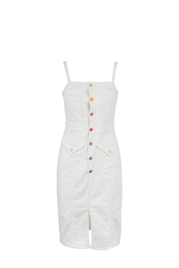 Mother Denim To The Point White Button Front Denim Dress