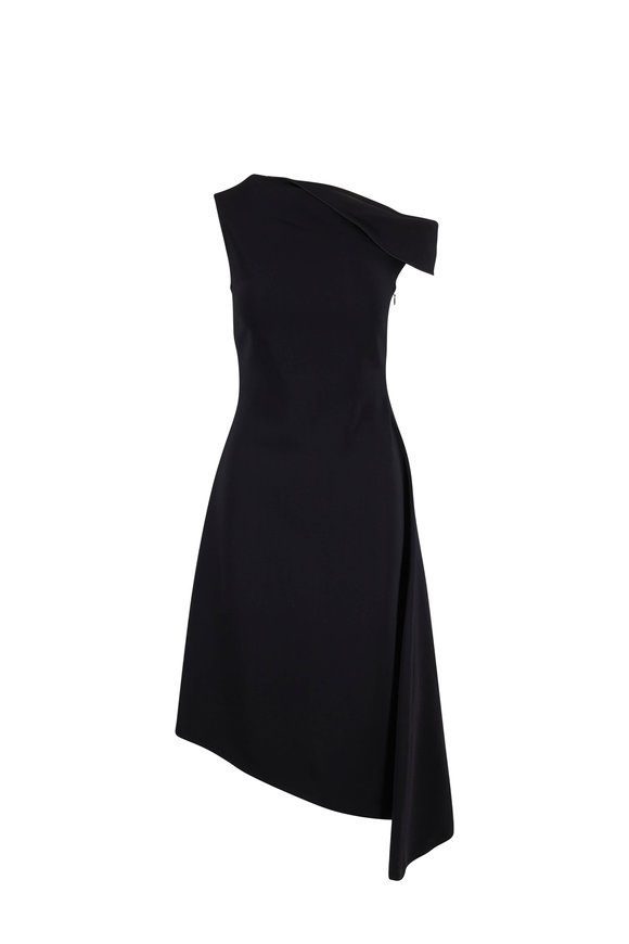 Rosetta Getty Black Folded Shoulder Asymmetric Hem Dress