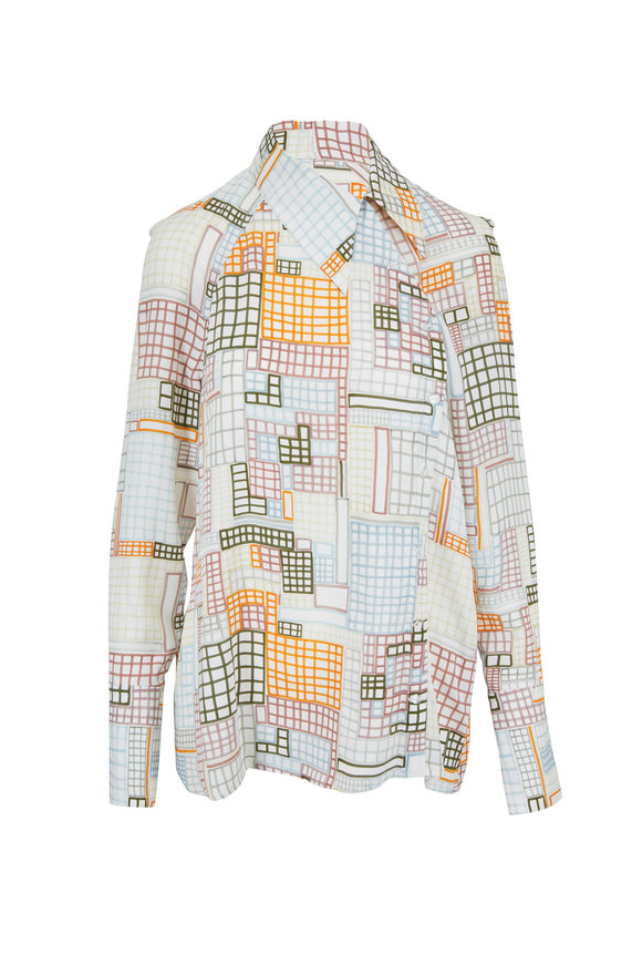 Rosetta Getty Ivory Patchwork Grid Asymmetric Blouse
