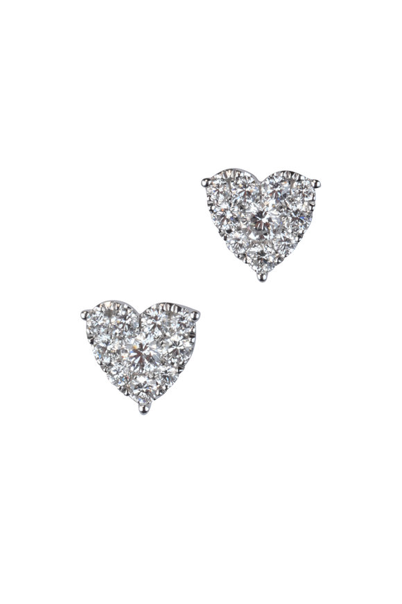 Kai Linz 14K White Gold Diamond Heart Earrings
