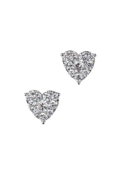 Kai Linz - 14K White Gold Diamond Heart Earrings