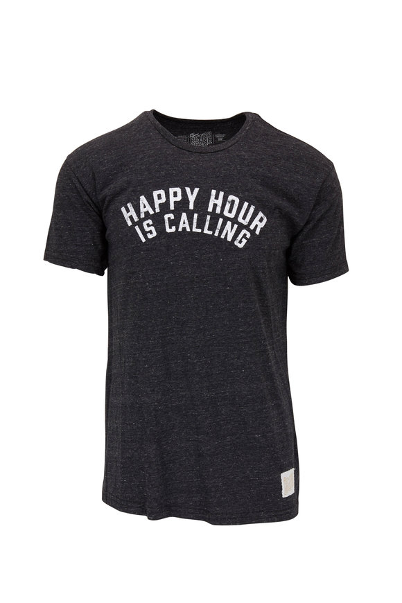 Retro Brand Heather Gray HAPPY HOUR Graphic T-Shirt