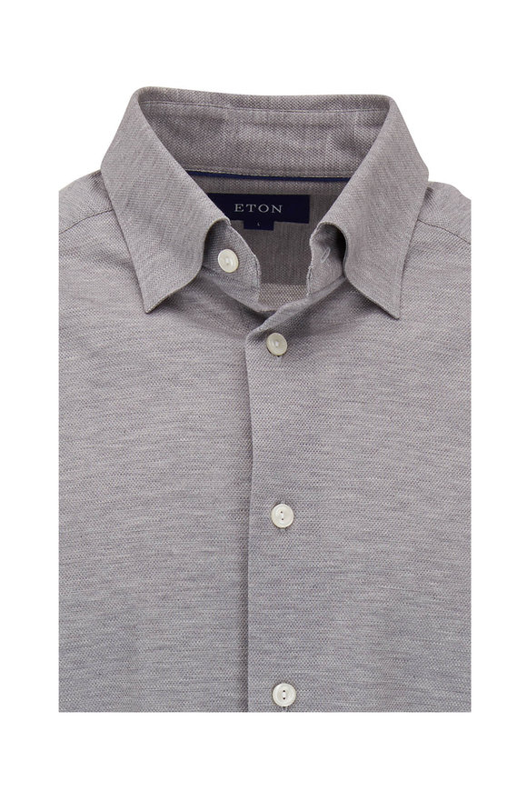 Eton Gray Piqué Knit Sport Shirt