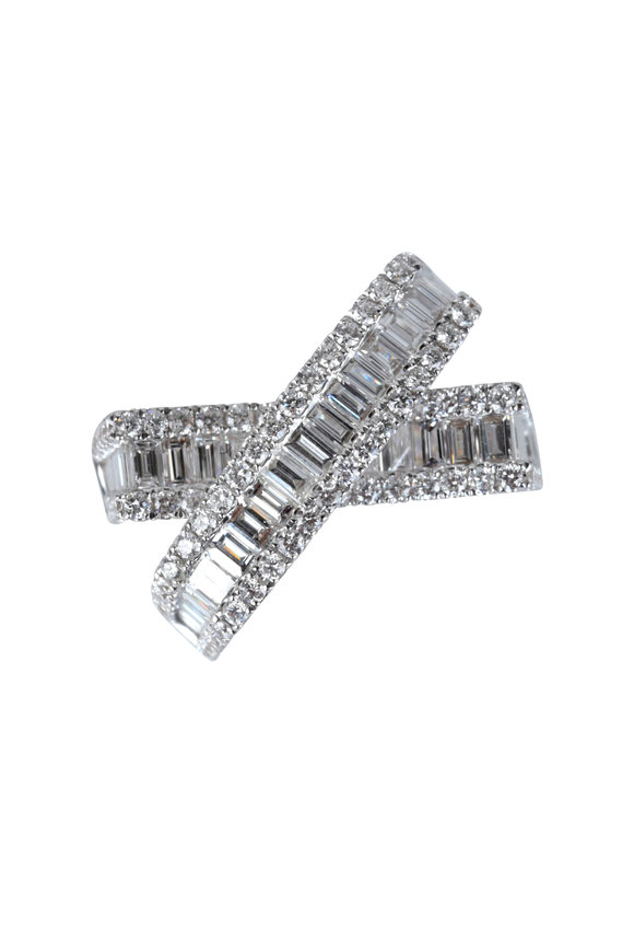 Kai Linz Diamond Baguette Crossover Ring